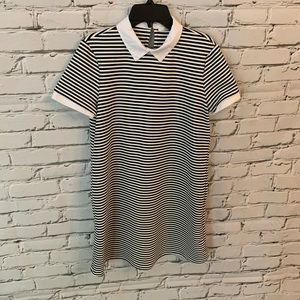 Zara SS Stripe Dress Black White Peter Pan Collar